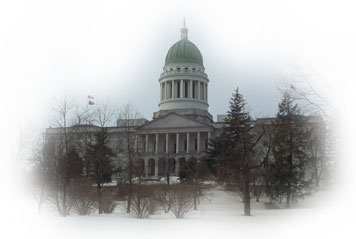 The maine state capitalis located in augusta maineoverlooking the